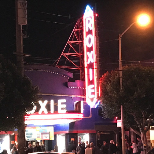 The crowd gathers outside the Roxie