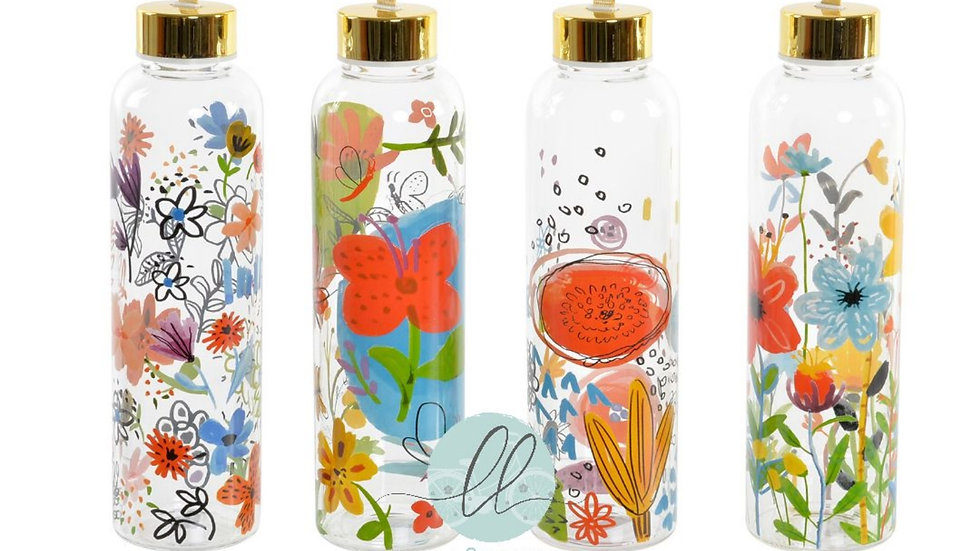 Botella Floral de Borosilicato