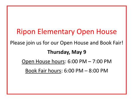Ripon El Open House/Book Fair