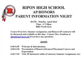 8th Grade Honors/AP Parent Night-4/22/19