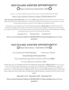 Ripon El Recycling Month-November!