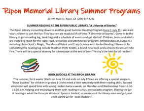 Ripon Public Library Summer Programs