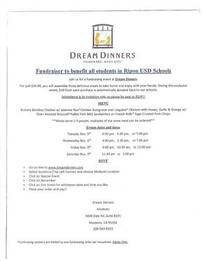 Ripon USD Dream Dinners Fundraiser