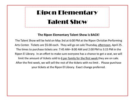 Ripon Elementary Talent Show