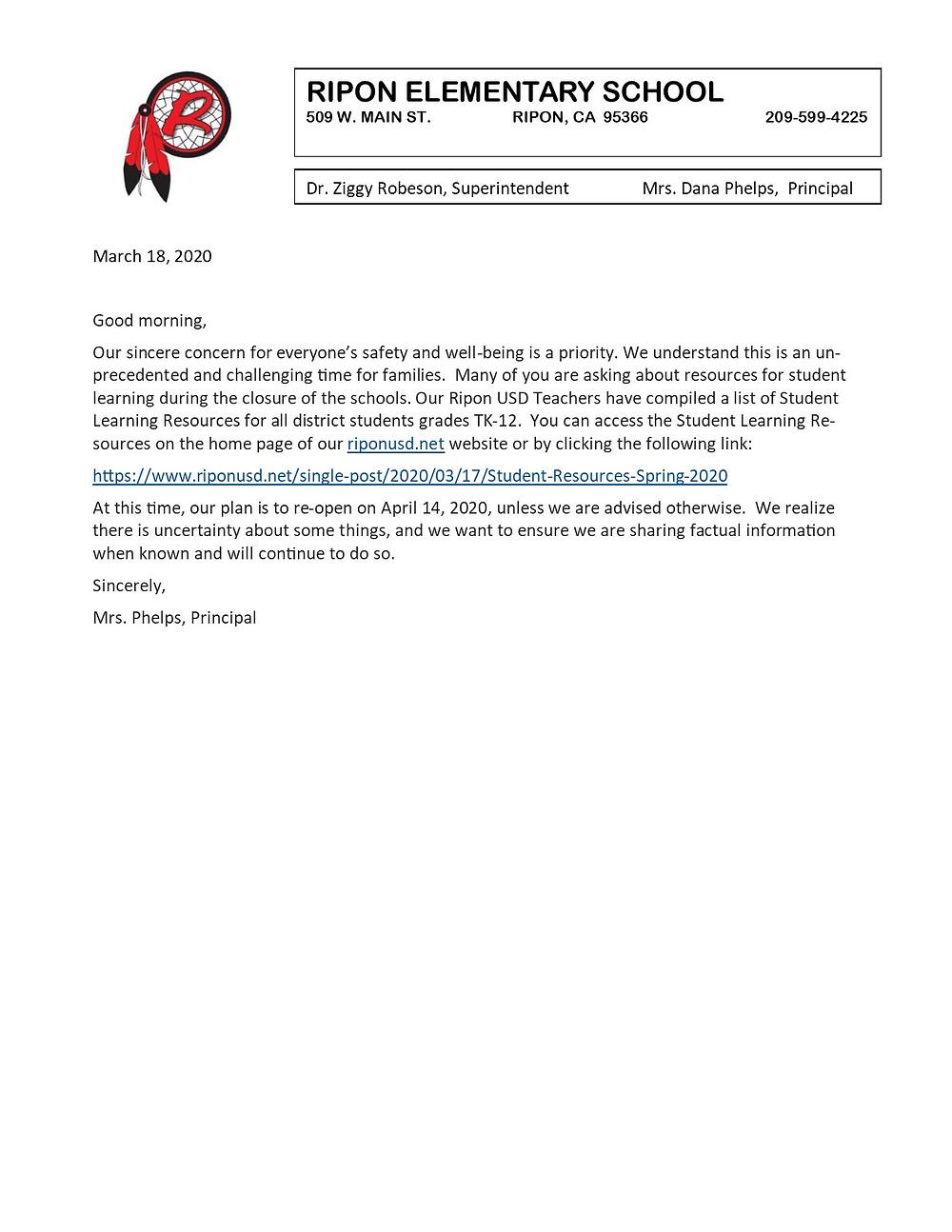 Parent Resources Letter