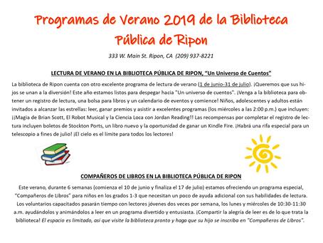Programas de Verano 2019 de la Biblioteca Pública de Ripon