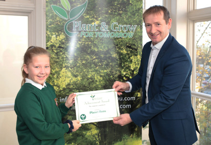 Mia Lawlor Receiving her Planet Hero Cert