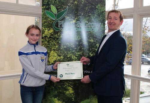 Dearbhla Hayes Receiving her Planet Hero Certificate.