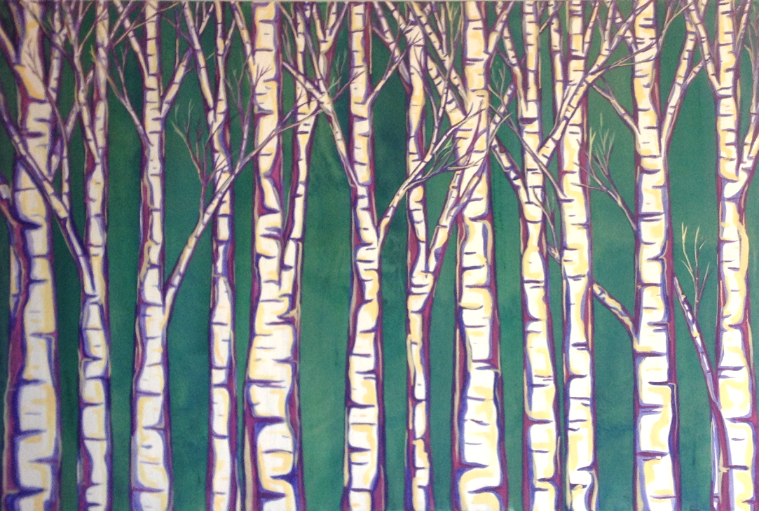 *Birches (Purple Green and Yellow)