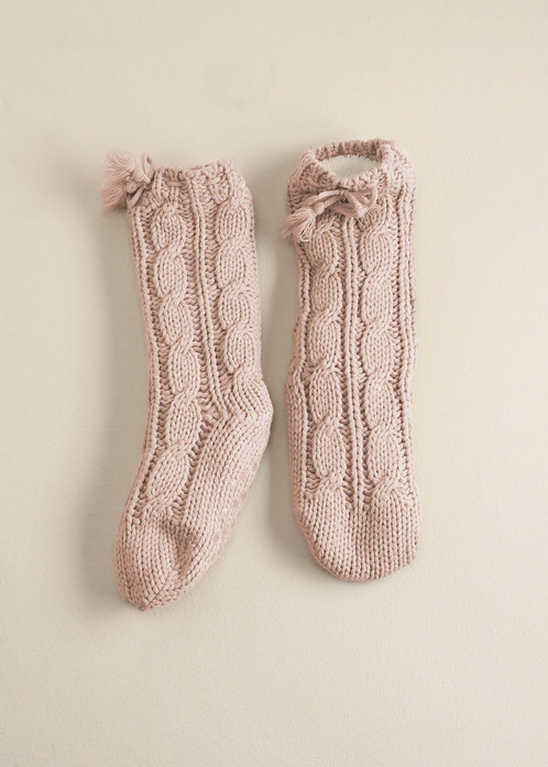 Cozy Knit Slipper Socks Blush
