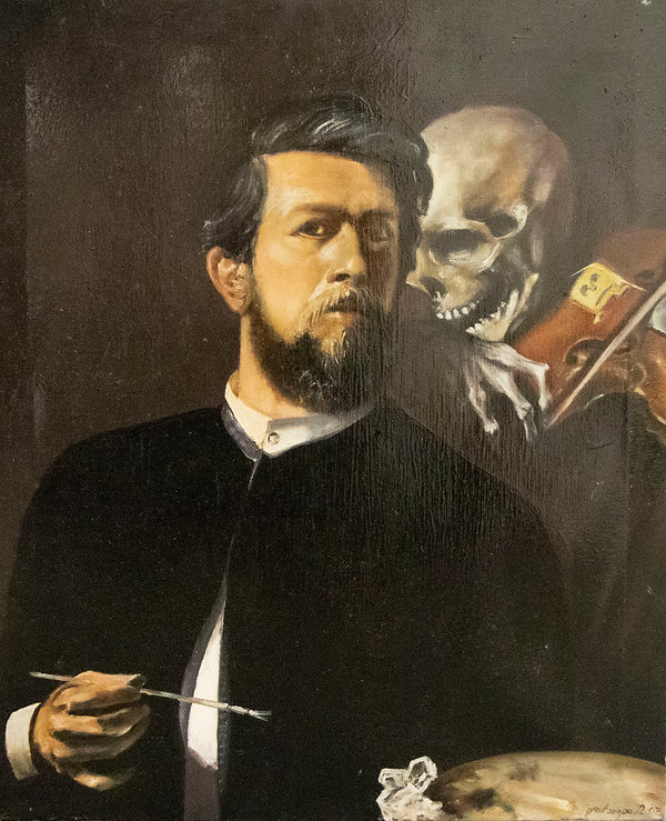Self Portrait With Death Playing The Vio