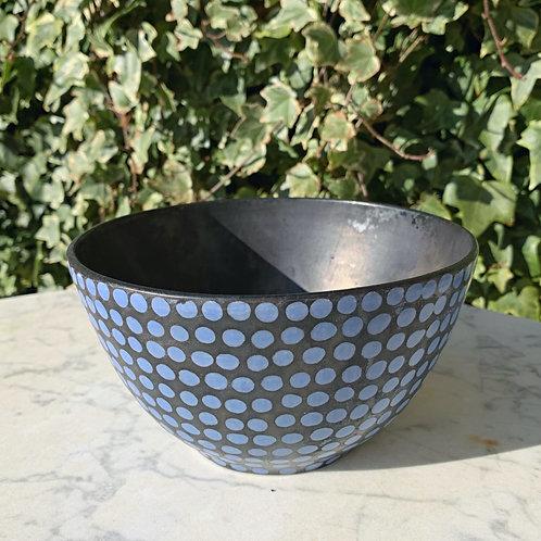 Blå Prikket morgenmadsskål