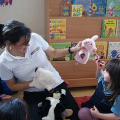 little girl, nursery, pig, animals, spanish, new language, Spanish teacher.JPG