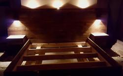 Barnwood bedroom set with custom lighting