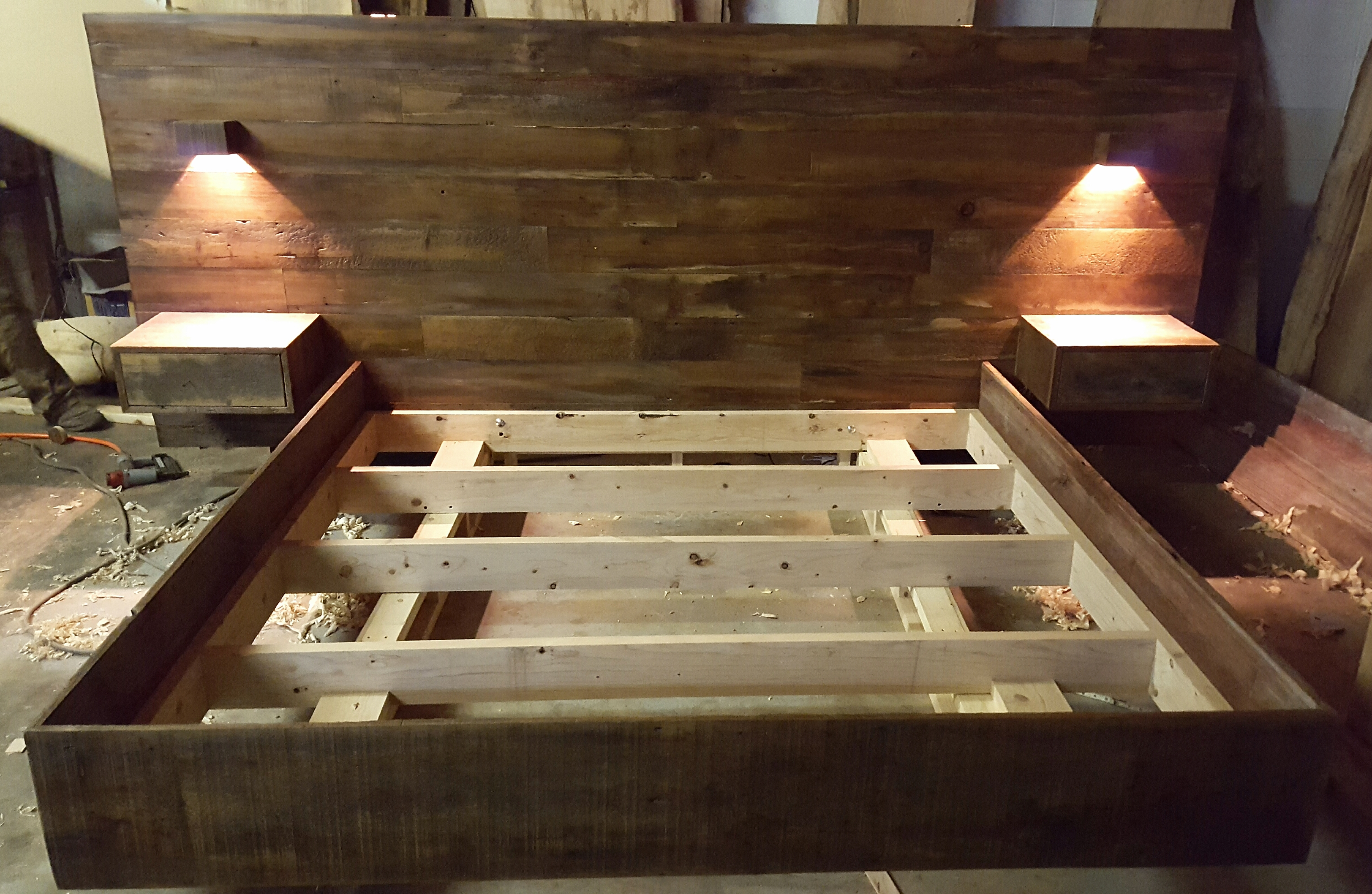 Barnwood bedroom set with custom lighting
