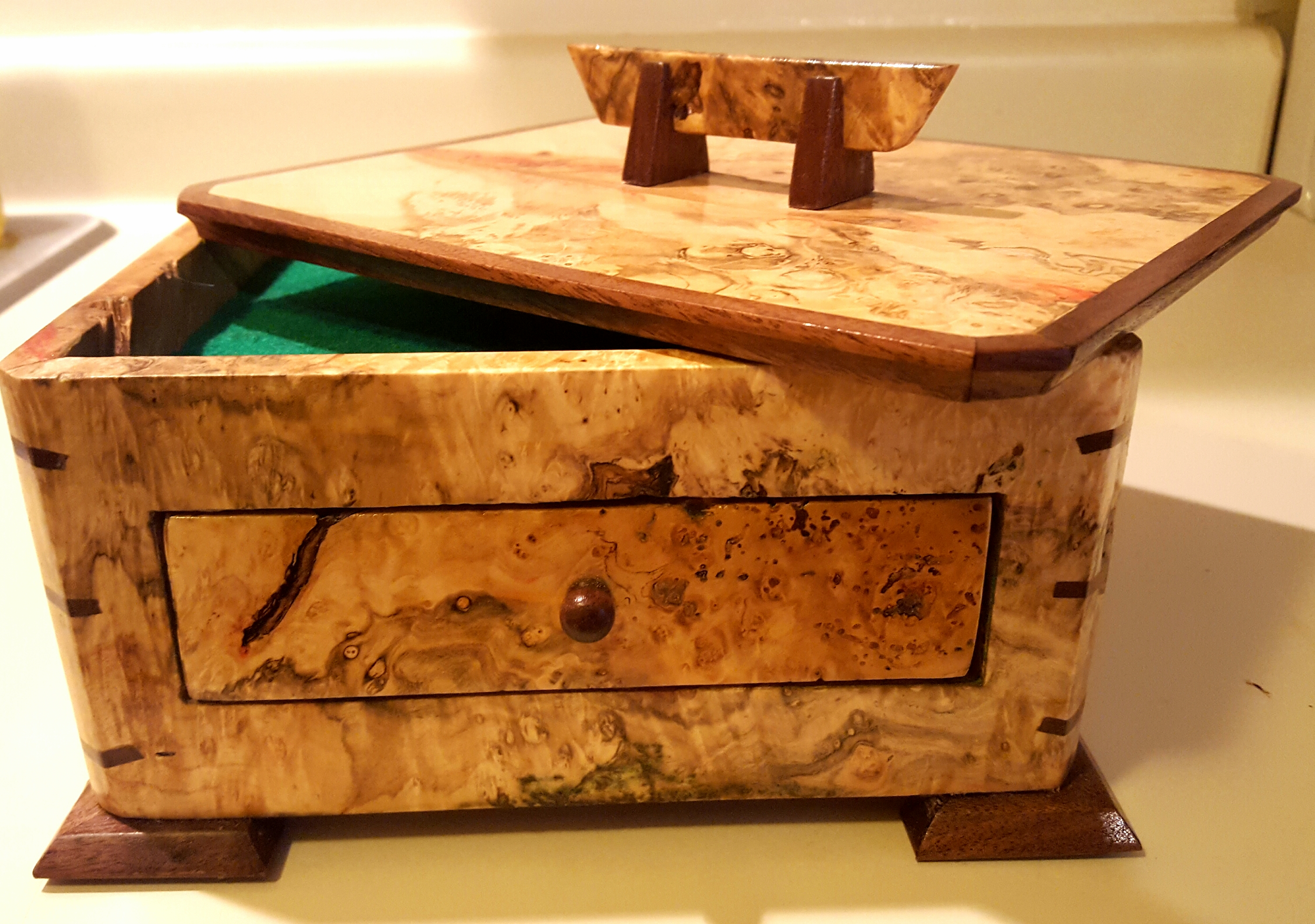 Box elder burl and walnut jewelry box