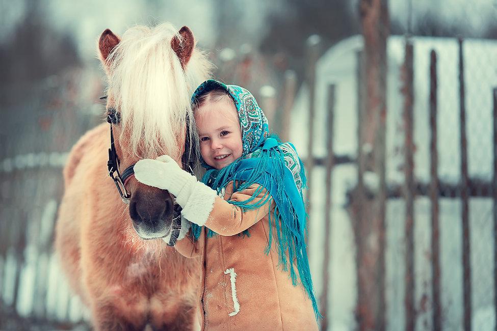 Russian style. Beautiful little girl in