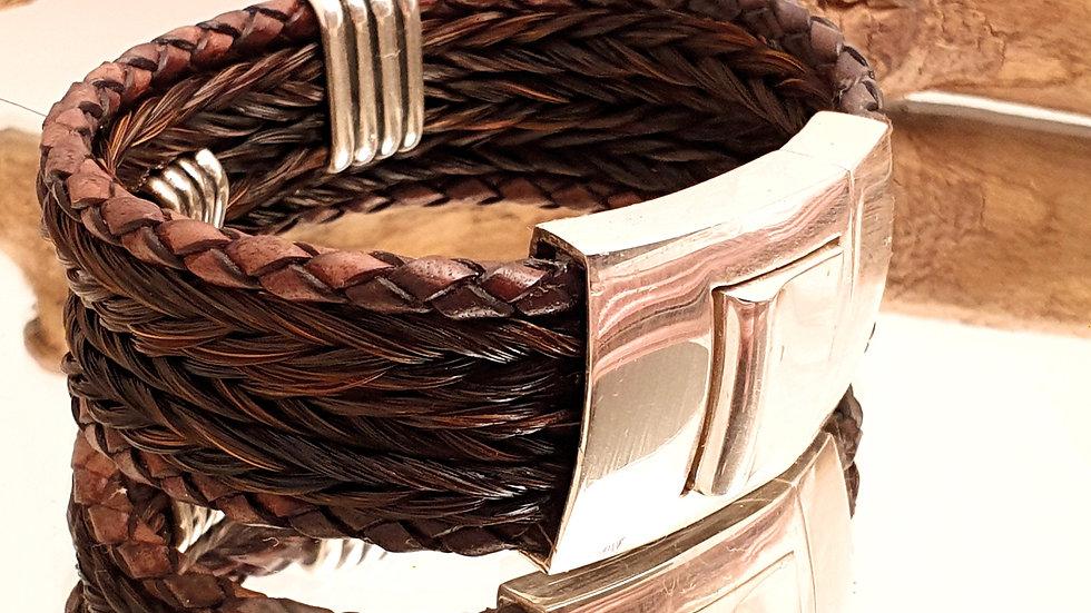 Herrenarmband, Pferdehaarstränge mit edlem Leder, Sterling Silver