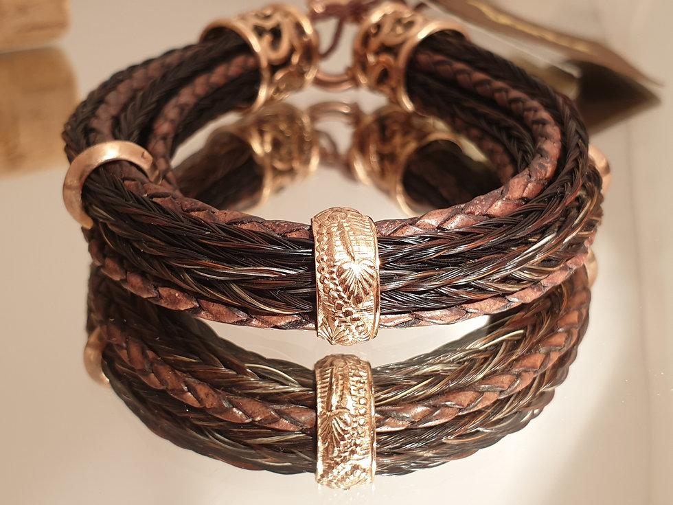 Armband aus Pferdehaar, Rosegold und Led