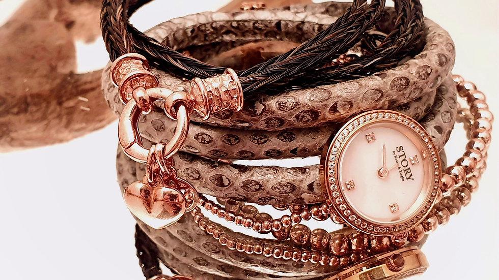 Uhr Story kombiniert mit Pferdehaararmband