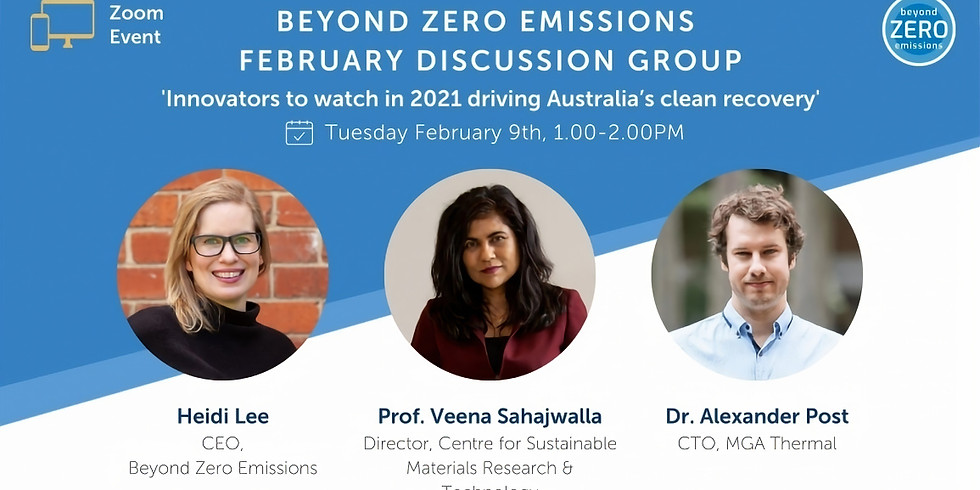 February Discussion Group: 'Innovators to watch in 2021 driving Australia's clean recovery