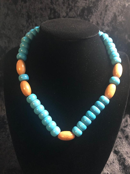 Turquoise with Wooden Beads Necklace