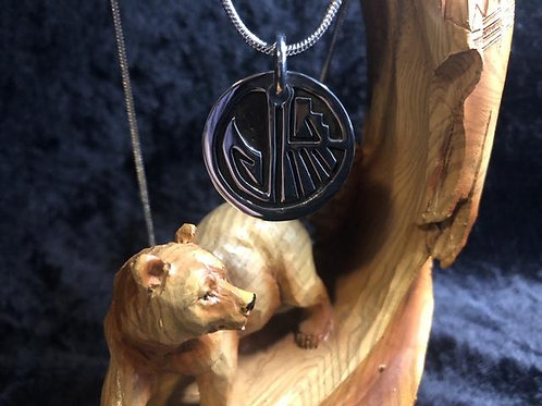 Cherokee Journey - Wolf Paw Pendant (Two Sides) Sterling Silver