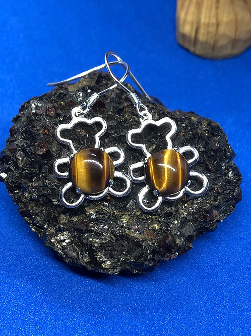 Tennessee Brown Bear Earrings in Tigers Eye Stone