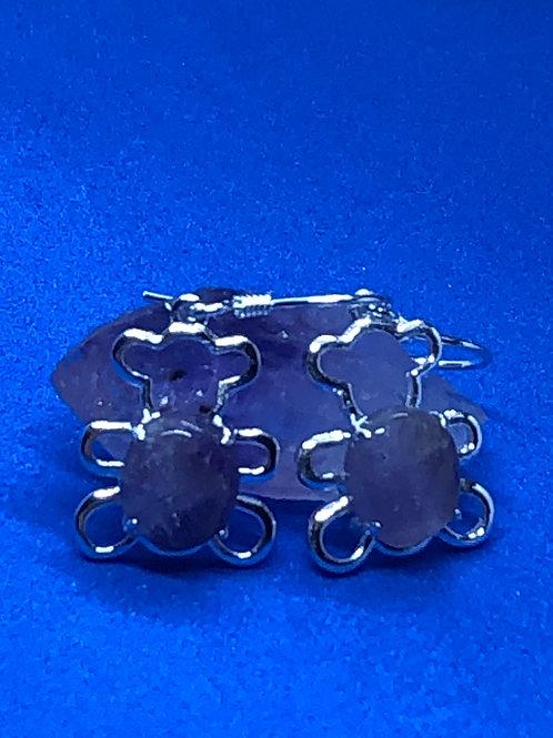 Tennessee Brown Bear Earrings in Amethyst