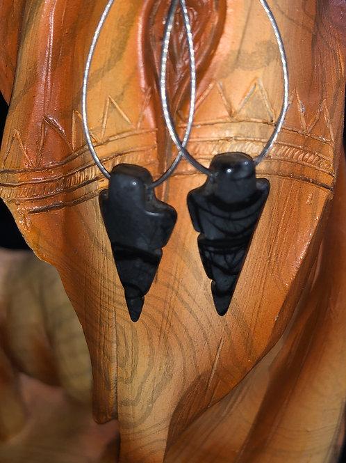 Small Dark Jasper Arrowhead Earrings