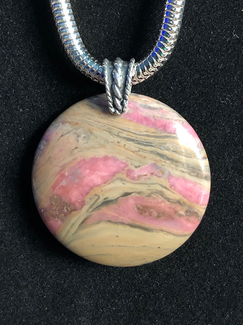 Rhodonite round pendant with fancy silver finding
