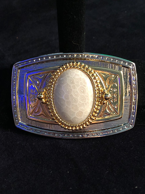 White Coral Belt Buckle two tone