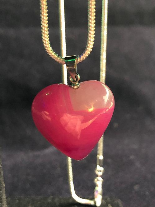 Peachblow Crystal Heart Pendant