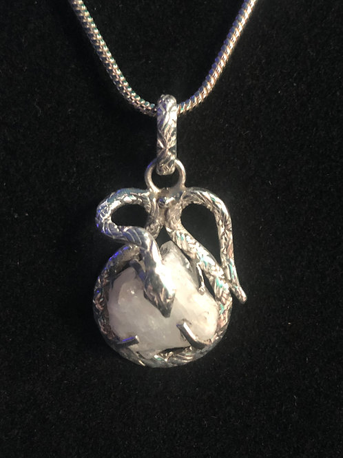 Healing Crystal Pendant held by a Sterling Silver snake