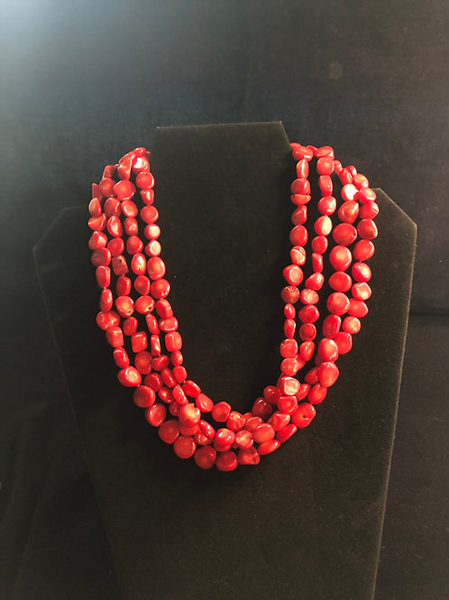 Rare Red Coral Necklace  ( four strands )