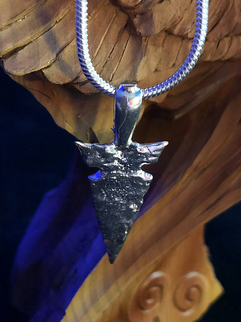 SOLID Sterling Silver Arrowhead Pendant