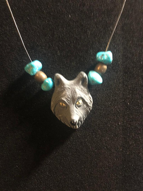 3D Wolf Face with Turquoise and Wooden beads