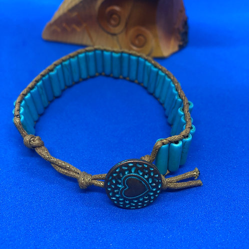 Turquoise Bracelet with Brass Heart latch