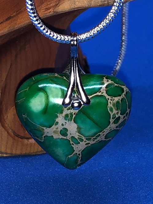 Green Turquoise Heart with fancy Sterling Silver bail