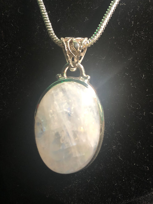 Thick Moonstone set in Sterling Silver - With fancy Silver bail