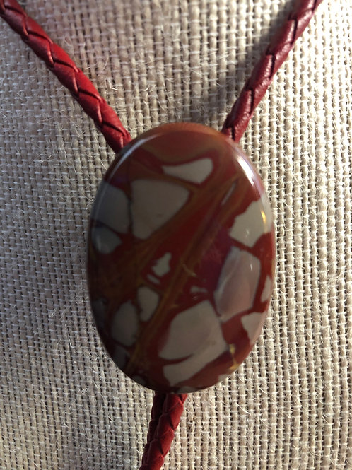 Red Jasper Oval Cut Bolo Tie - With Red Cord