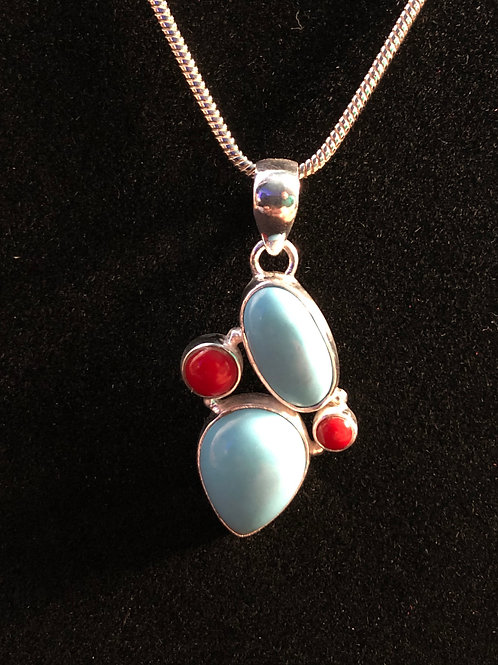 Turquoise and Red Coral Sterling Silver bezel pendant