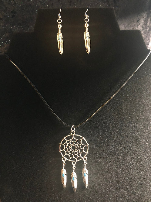 Dream Catcher and Feather Earring Necklace Set