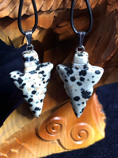 Dalmatian Stone Arrowhead Earrings
