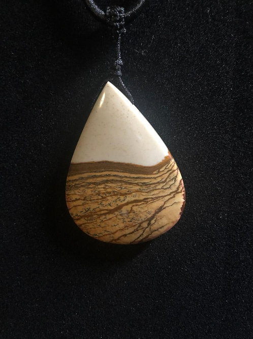 Picture Jasper Teardrop Necklace