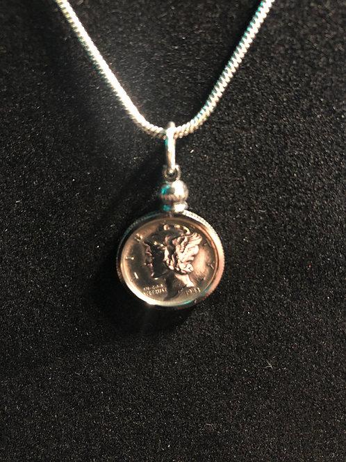1943 Mercury Head silver dime pendant