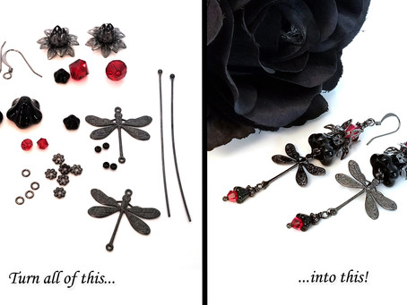 Gothic Dragonfly Earrings, Black Do It Yourself Jewelry Kit, Vampire Inspired #1031