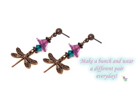 Miniature Dragonfly Dangle Earrings Kit #394