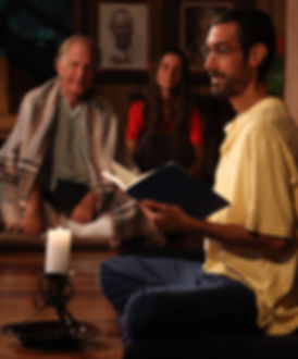 Spiritual ashram community evening gathering and sharing