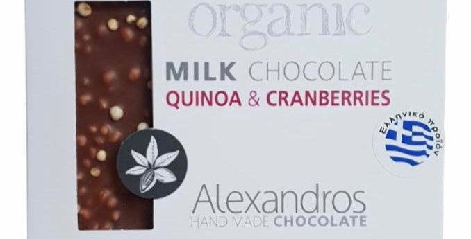 Bio Vollmilchschokolade mit Quinoa und Cranberries (90g)